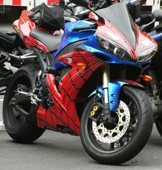 Spiderman Yamaha Yzf Motorcycle by Brian Parkin Motos Yamaha, Yamaha Bikes, Yamaha Yzf, Cool Motorcycles, Triumph Motorcycles, Custom Street Bikes, Custom Sport Bikes, Futuristic Motorcycle, Motorcycle Bike