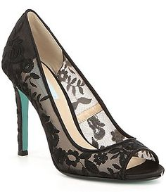 Blue by Betsey Johnson Adley Fabric Mesh Flower Embroidered Peep Toe Dress Pumps