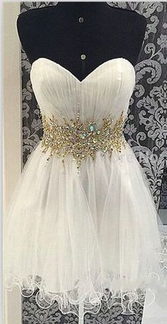 Gold Beaded Ivory Tulle Homecoming Dresses ,A Line Sweetheart Short Prom Dresses Homecoming Dress,Cheap Short Prom Gowns Cocktail Dress,Wedding Party Gown For Sweet 16 Dresses,Mini Length Skirt Cute Dresses Ball Gowns Prom, Party Gowns, Wedding Party Dresses, White Homecoming Dresses, Prom Dresses, Formal Dresses, Dress Prom, Long Dresses, Bridesmaid Dresses