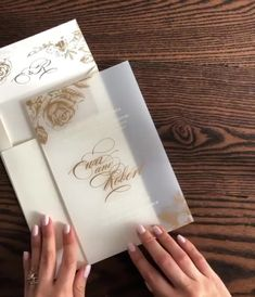 Gold Floral Frosted Acrylic Wedding Invitation by Penn & Paperie Acrylic Wedding Invitations, Minimalist Wedding Invitations, Destination Wedding Invitations, Simple Wedding Invitations, Wedding Invitation Cards, Invitation Suite, Wedding Programs, Shower Invitation, Invitation Design