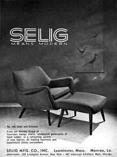 Selig Modern Furniture CHAIR AND OTTOMAN Mid-Century Modern 1956 MAGAZINE AD