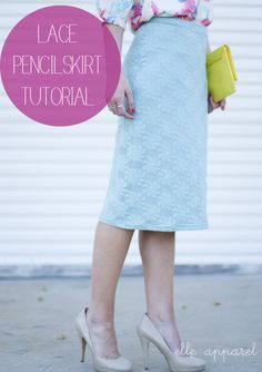 Mint Lace Skirt Tutorial- you can use other kinds of fabric that still have a little stretch