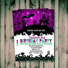 Whimsical Halloween, Purple Halloween, Adult Halloween, Spooky Halloween, Halloween Ideas, Halloween Fabric, Halloween Party, Halloween Birthday Invitations, Holiday Invitations