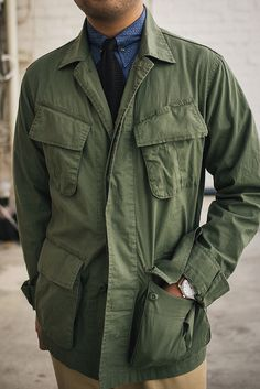 Big Men Fashion, Military Fashion, Bon Look, Olive Jacket, Army Shirts, Hunting Jackets, Safari Jacket, Herren Outfit, Field Jacket