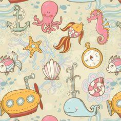Summer sea pattern 400x400