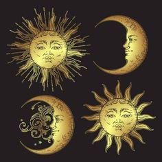 Antique style hand drawn art sun and crescent moon set. Boho flash tattoo design vector gold isolated on black background Sun Moon Stars, My Sun And Stars, The Sun, Sun Aesthetic, Aesthetic Vintage, Moon Sun Tattoo, Sun Drawing, Tattoo Mond, Moon Setting