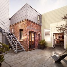 Red-brick boiler room converted into tiny guesthouse by Azevedo Design. Dezeen.  Optimised space plan/.