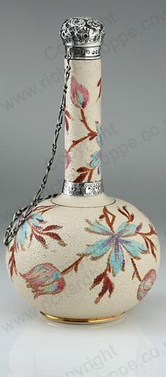 ANTIQUE 1889 TAYLOR TUNNICLIFFE PORCELAIN SCENT PERFUME BOTTLE, SILVER MOUNTS. This item is sold, to visit my website to see what's in stock click here: http://www.richardhoppe.co.uk or for help or information email us here: info@richardhoppe.co.uk