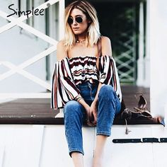 Simplee Sexy off shoulder striped blouse shirt Summer flare sleeve cool blouse women top Casual soft streetwear femme blusas