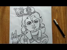 very easy line art bal krishna,krishna thakur drawing,how to draw bal gopal,how to draw lord krishna Lord Krishna Sketch, Krishna Drawing, Krishna Painting, Pencil Sketches Easy, Art Drawings Sketches Simple, Rangoli Drawing, Easy Flower Drawings, Indian Drawing, Bal Gopal