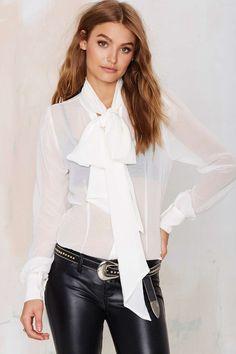 Slim Fit Long Sleeve Sheer Chiffon Blouse Pussybow Shirt White