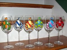 jockey silks wine glasses--wow! Just found this pic on Pinterest and they are glasses that I painted. :)