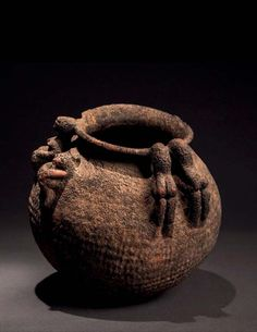 Africa | Vessel from the Dogon people of Mali Cultures Du Monde, African Pottery, African Sculptures, Ceramic Pots, Flower Aesthetic, Interesting Faces, West Africa, Ancient Art, Earthenware