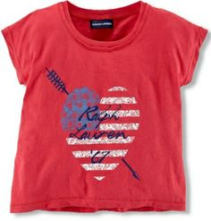   Ralph LaurenToddler's & Little Girl's Americana Tee has a heritage-inspired flag-and-heart graphic print  
