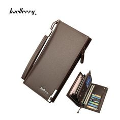 Baellerry Business Men's Wallets Solid PU Leather Long Wallet Portable Cash Purses Casual Standard Wallets Male Clutch Bag