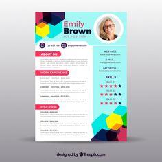 Colorful resume template Free Vector Online Cv Template, Resume Template Free, Creative Resume Templates, Cv Design, Resume Design, Job Application Template, Resume References, Modern Cv Template, Curriculum Vitae Template