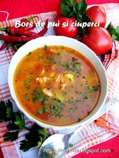 Bors de pui si ciuperci Cheeseburger Chowder, Ethnic Recipes, Food, Meal, Essen, Hoods, Meals, Eten