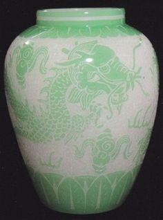 Antique Steuben Glass | Steuben Glass; Acid Cut, Vase, Dragon Pattern, Alabaster to Green Jade ...
