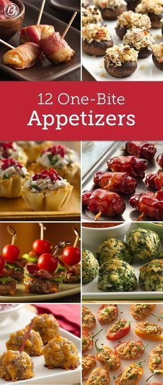 13 One-Bite Appetizers Think mini! These small appetizer bites are perfect for mixing and mingling at parties. And best of all, each recipe makes a nice-sized batch, making them ideal for potlucks and open houses! One Bite Appetizers, Finger Food Appetizers, Appetizer Dips, Appetizers For Party, Appetizer Recipes, Avacado Appetizers, Prociutto Appetizers, Canapes, Mexican Appetizers