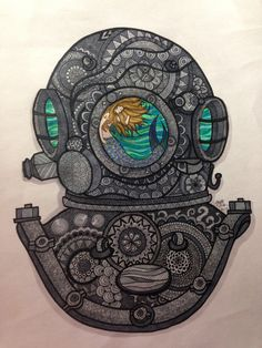 Zentangle of Diving Divers Helmet with Mermaid by JazyWitt on Etsy https://www.etsy.com/listing/234132364/zentangle-of-diving-divers-helmet-with