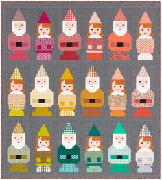 Norm & Nanette are adorable gnome siblings made with conventional patchwork techniques. Can be pieced using conventional patchwork techniques. No paper piecing! This pattern is pre-cut friendly using x squares to make Norm and Nanette? Elizabeth Hartman Quilts, Patchwork Quilt Patterns, House Quilt Patterns, Quilting Patterns, Quilting Designs, Sewing Patterns, Cute Quilts, Baby Quilts, Kid Quilts