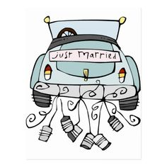 Gerade schleppende Dosen des verheirateten Autos Postkarte Just Married Auto, Couple Drawings, Wedding Gifts, Poster, Gift Money, Snoopy, Bridesmaid, Cards, Fictional Characters