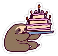 'Birthday cake Sloth' Sticker by SaradaBoru Baby Sloth, Cute Sloth, Printable Stickers, Cute Stickers, Giant Birthday Cake, Tumblr Birthday, Cake Drawing, Tumblr Stickers, Aesthetic Stickers