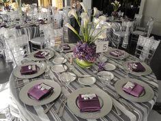 decoracion mesa boda gris morado - Buscar con Google
