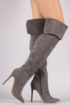 Description These stunning boots features a soft vegan suede upper with partial elastic gusset insert at the back, fold down cuff design, pointy toe silhouette, and stiletto heel. Finished with cushio