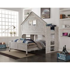 Donco Kids Rustic Sand Twin Tree House Loft Bed | Overstock.com Shopping - The Best Deals on Kids' Beds