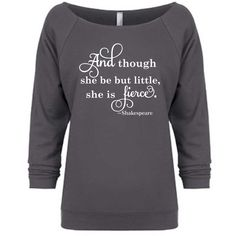 And Though She Be but Little She Is Fierce Off Shoulder Sweatshirt... ($22) ❤ liked on Polyvore featuring tops, hoodies, sweatshirts, sweaters, black, women's clothing, black oversized shirt, black off the shoulder top, oversized sweatshirt and black sweatshirt