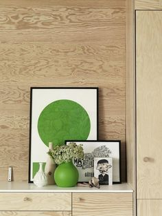 plywood furniture and kelly green accessories
