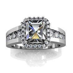 Princess Cut Halo Engagement Ring with Channel Set