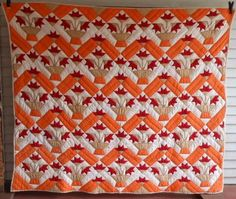 Antique vintage Carolina Lily quilt early 1900s Tennessee flowers pots | eBay