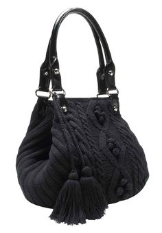 Plus Size Cable knit sweater handbag with tassels | Plus Size Handbags | One Stop Plus