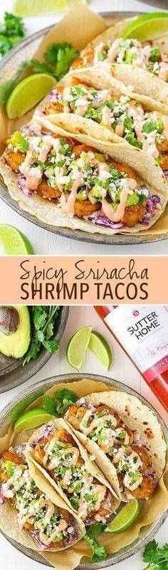 Spice Sriracha Shrimp Tacos – lightly spice shrimp, sriracha sauce, guacamole and slaw! A great spic Check it out Spice Sriracha Shrimp Tacos – lightly spice shrimp, sriracha sauce, guacamole and slaw Shrimp Taco Recipes, Shrimp Tacos, Fish Recipes, Mexican Food Recipes, Dinner Recipes, Siracha Shrimp, Mexican Desserts, Spicy Shrimp, Tortilla Wraps