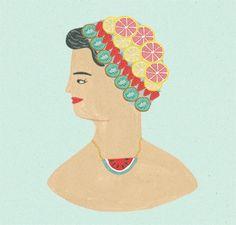 woman with fruity accessories - amelias magazine illustration - naomi wilkinson