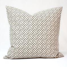 Geometric grey pkaufmann decorative pillow by alexisandradesign, $35.00