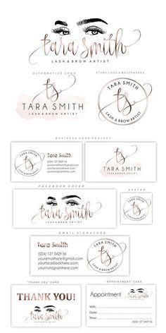 Lash logo design Eyelash branding kit Lash extensions logo #businesscards