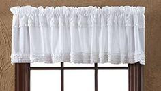 Shabby French Country Chic WHITE RUFFLED VALANCE Sheer Window Curtain Ruffles #FrenchCountry