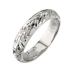 14K White Gold Plumeria Maile Ring(Barrel 1.5mm) - Makani Hawaii,Hawaiian Heirloom Jewelry Wholesaler and Manufacturer