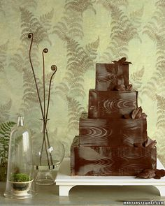 Martha Stewart chocolate woodgrain wedding cake