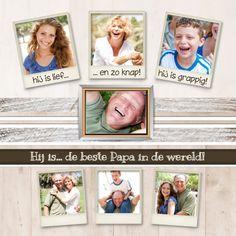 Een collagekaart voor papa met plaats voor maar liefs 8 foto's. Schrijf leuke teksten bij de foto's en je hebt een hele grappige Vaderdag kaart. Te vinden op: https://www.kaartje2go.nl/vaderdag-kaarten/collagekaart-papa-bk