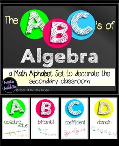 elementary classroom decor Algebra Word Wall ~ ABCs of Algebra 1 Middle school or high school Algebra teachers can use this fun and colorful set of algebra alphabet vocabular Math Classroom Decorations, Classroom Ideas, Classroom Posters, School Classroom, High School Algebra, Algebra 1, Calculus, Curriculum, Math Bulletin Boards