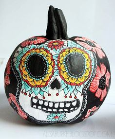 Artist Alisa Burke's Day of the Dead painted pumpkin