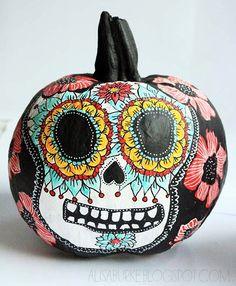 Artist Alisa Burke's Day of the Dead painted pumpkin