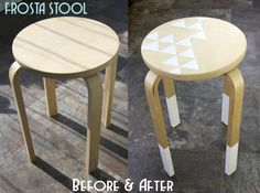 Frosta stool; before and after; IKEA stool; geometry; paint dipped