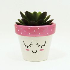 Succulent Planter Terracotta Pot Cute Face Planter Air Plant Holder Plant Pot Flower Pot Indoor Planter Kawaii from TimberlineStudio on Etsy Painted Plant Pots, Painted Flower Pots, Decorated Flower Pots, Flower Pot Crafts, Clay Pot Crafts, Flower Pot Art, Face Planters, Indoor Planters, Plants Indoor