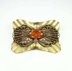 10% OFF Victorian Brooch Topaz Citrine Glass Gilt by zephyrvintage