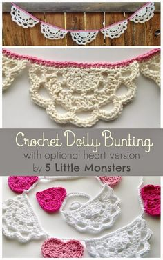 Crochet Doily Bunting (includes version with hearts and doilies) Free Crochet Pattern from 5 Little Monsters #crochet #freepattern